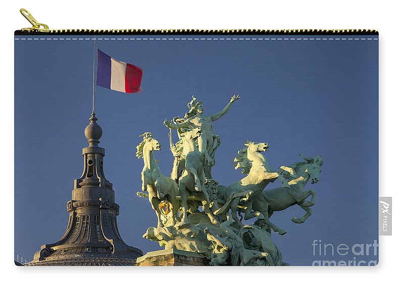 Building Carry-all Pouch featuring the photograph Paris Horse Statue by Brian Jannsen