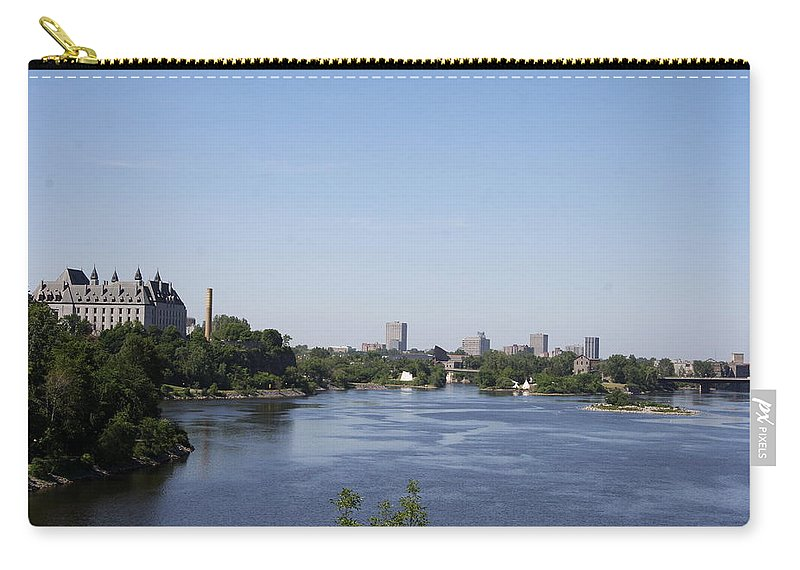 Ottawa River Carry-all Pouch featuring the photograph Parliament And Ottawa River by Christiane Schulze Art And Photography