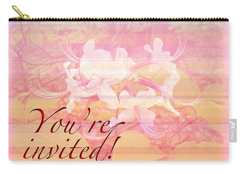 Invitation Carry-all Pouch featuring the photograph Party Invitation - General - Wild Azalea Blossoms by Mother Nature