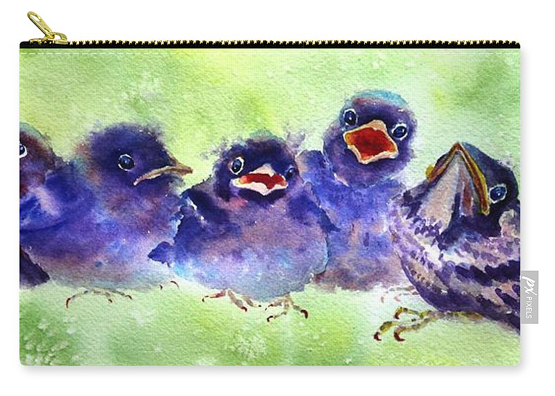 Baby Birds Carry-all Pouch featuring the painting Party Of Five by Ruth Kamenev