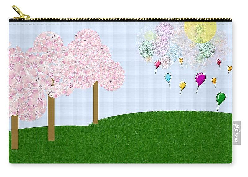 Cherry Trees Carry-all Pouch featuring the digital art Party Over The Hill by Heidi Smith