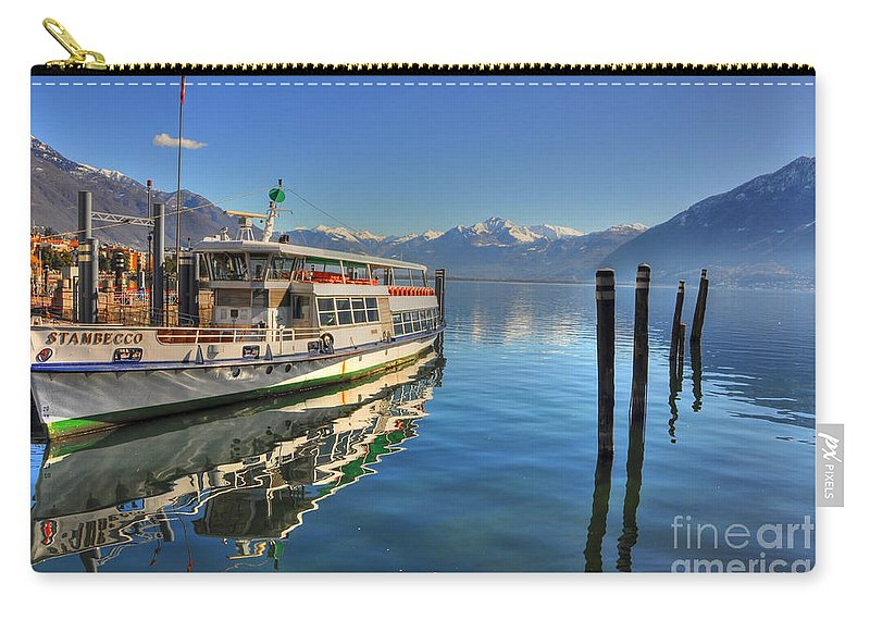 Ship Carry-all Pouch featuring the photograph Passenger Ship Reflected On The Water by Mats Silvan