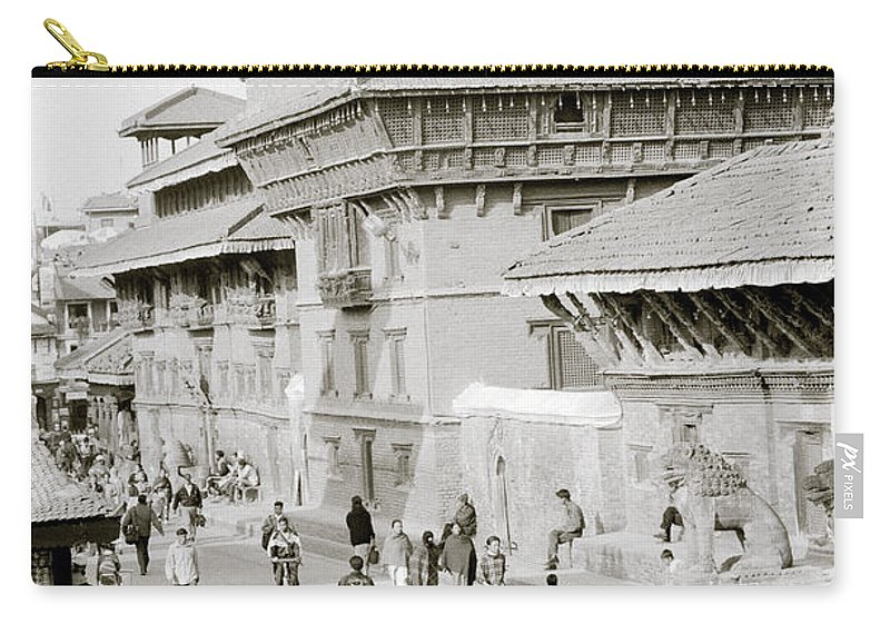 Black And White Carry-all Pouch featuring the photograph Patan by Shaun Higson