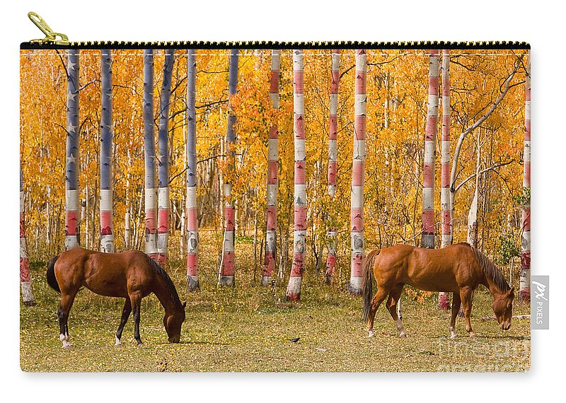 Horse Carry-all Pouch featuring the photograph Patriotic Autumn by James BO Insogna