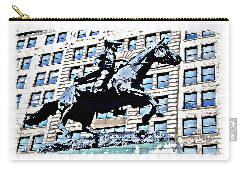 Paul Revere Statue Wilmington City Philadelphia Abstract Carry-all Pouch featuring the photograph Paul Revere Galloping Statue by Alice Gipson