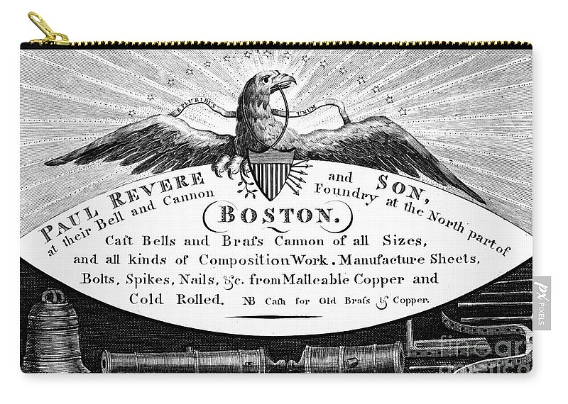 1790s Carry-all Pouch featuring the photograph Paul Revere: Trade Card by Granger