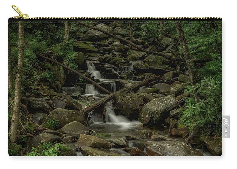 Great Smoky Mountains National Park Carry-all Pouch featuring the photograph Peaceful Cascade by Charlie Choc