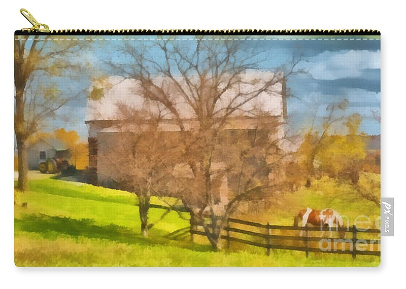 Autumn Carry-all Pouch featuring the painting Peaceful Farm In Autumn by Anne Kitzman