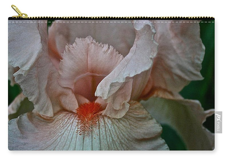 Plant Carry-all Pouch featuring the photograph Peach Iris by Susan Herber