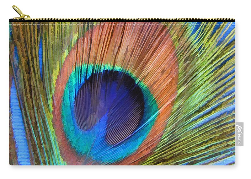 Peacock Carry-all Pouch featuring the photograph Peacock Glory by Kathy Clark