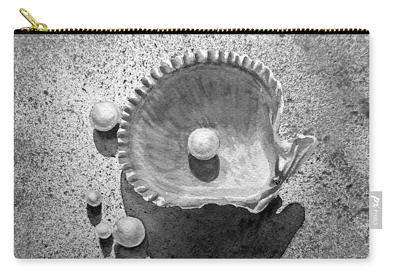 Sea Shell Carry-all Pouch featuring the painting Pearls by Irina Sztukowski
