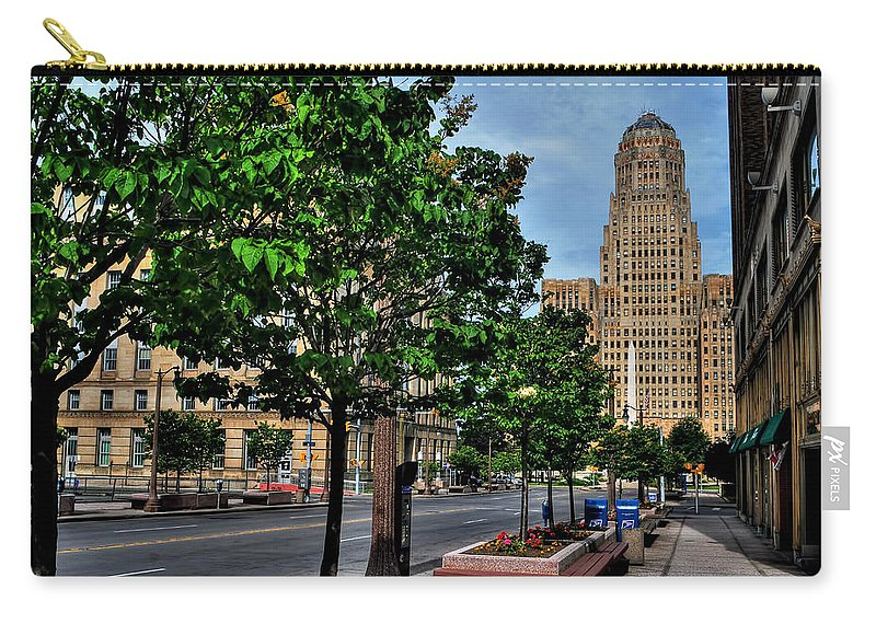 Carry-all Pouch featuring the photograph Pedestrian View Of City Hall Horizontal by Michael Frank Jr