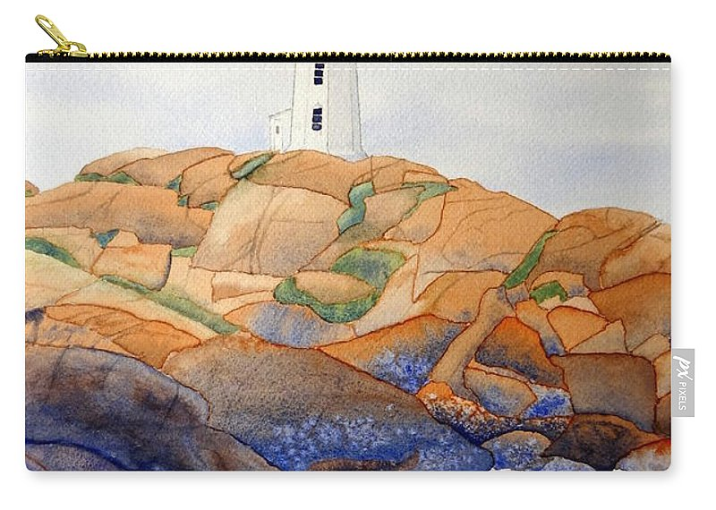 Peggy's Cove Carry-all Pouch featuring the painting Peggy's Cove by Laurel Best