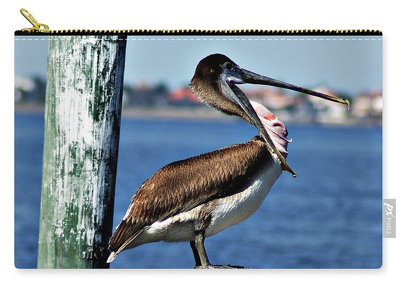 Pelican Carry-all Pouch featuring the photograph Pelican II by Joe Faherty