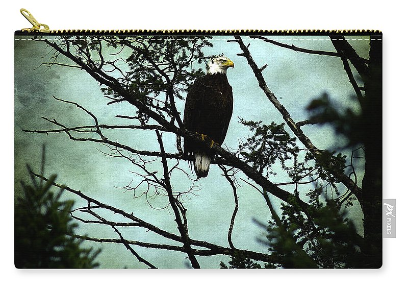 Eagle Carry-all Pouch featuring the photograph Perched Raptor by The Artist Project