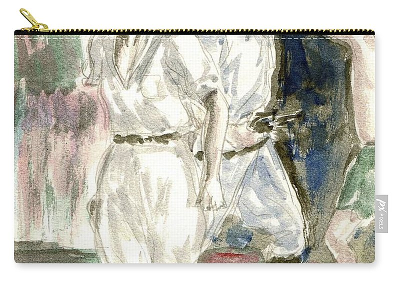 Nostalgia Carry-all Pouch featuring the drawing Perils Of Pauline by Mel Thompson