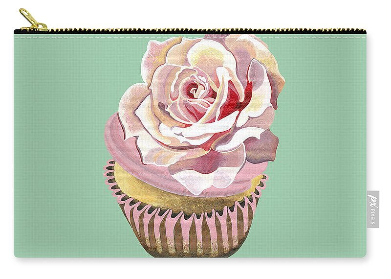 Cup Cake Carry-all Pouch featuring the painting Petal Pink Dream by Shirley Radebach