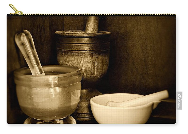 Paul Ward Carry-all Pouch featuring the photograph Pharmacy - Mortars And Pestles - Black And White by Paul Ward