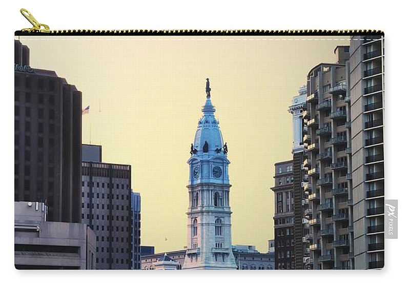 Philadelphia Cityhall At Dawn Carry-all Pouch featuring the photograph Philadelphia Cityhall At Dawn by Bill Cannon