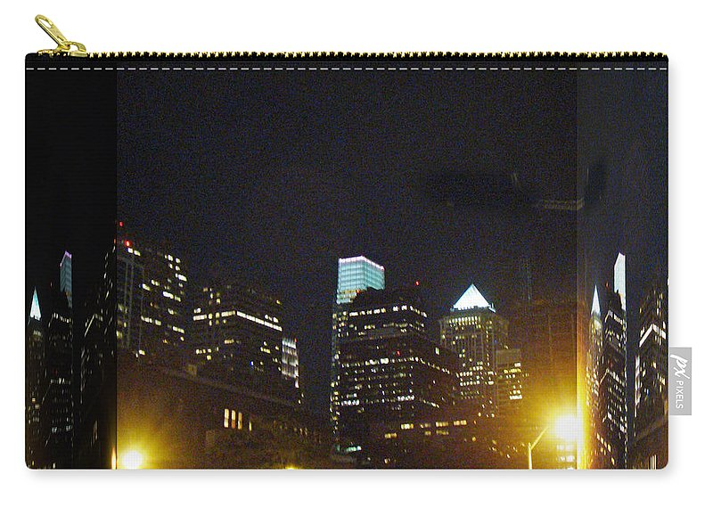 Philadelphia Carry-all Pouch featuring the photograph Philadelphia Skyline At Night - Mirror Box by Mother Nature
