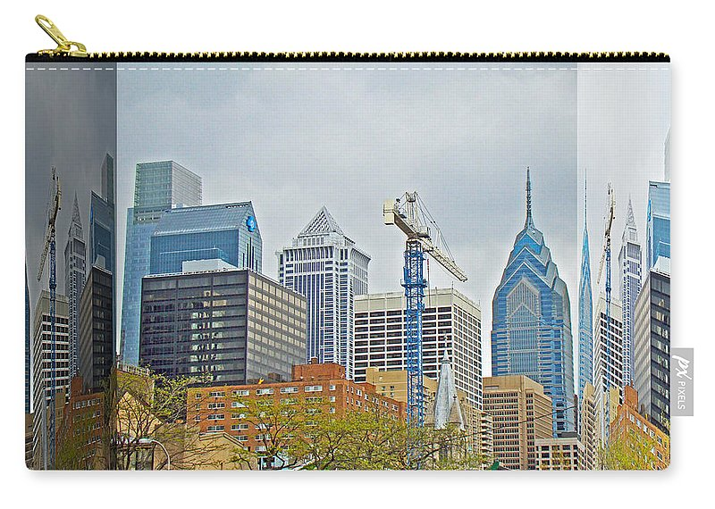 Philadelphia Carry-all Pouch featuring the photograph Philadelphia Skyline - Mirror Box by Mother Nature