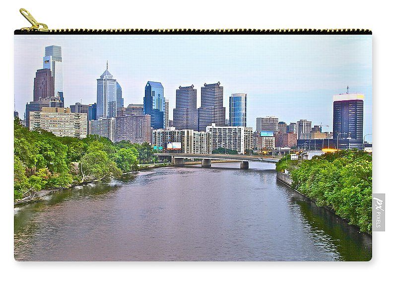 Philadelphia Waterway Water Schulykill River Philly Scenic Carry-all Pouch featuring the photograph Philly By Water by Alice Gipson