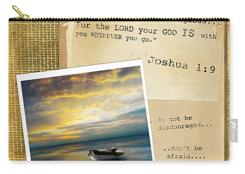Burlap Carry-all Pouch featuring the photograph Photo Of Boat On The Sea With Bible Verse by Jill Battaglia
