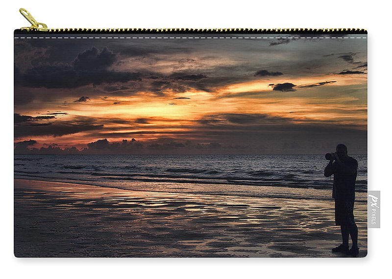 Self-portrait Carry-all Pouch featuring the photograph Photographing Sunsets by Douglas Barnard