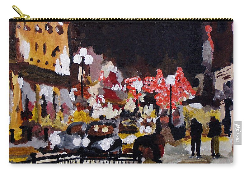 London Carry-all Pouch featuring the painting Piccadilly Night by Steve Teets
