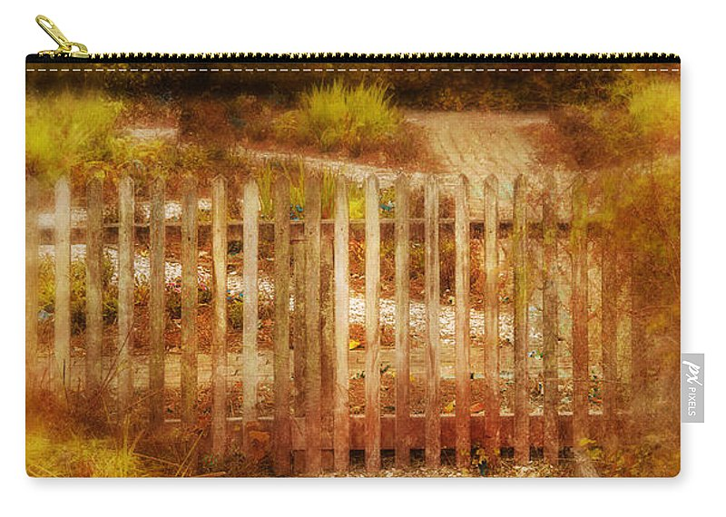 Fence Carry-all Pouch featuring the photograph Picket Fence And Cottage by Jill Battaglia
