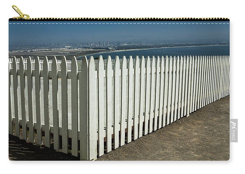 Art Carry-all Pouch featuring the photograph Picket Fence By The Cabrillo National Monument Lighthouse In San Diego by Randall Nyhof