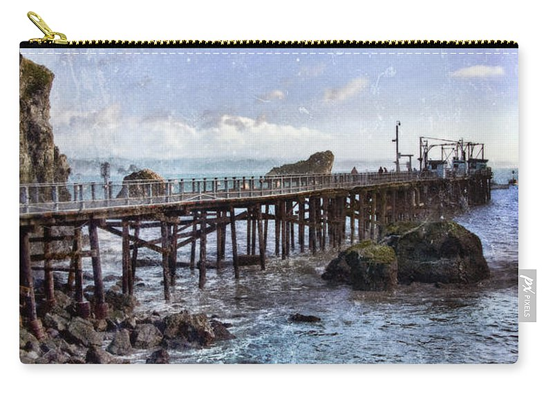 Pier Carry-all Pouch featuring the photograph Pier Along Rocky Shore by Jill Battaglia