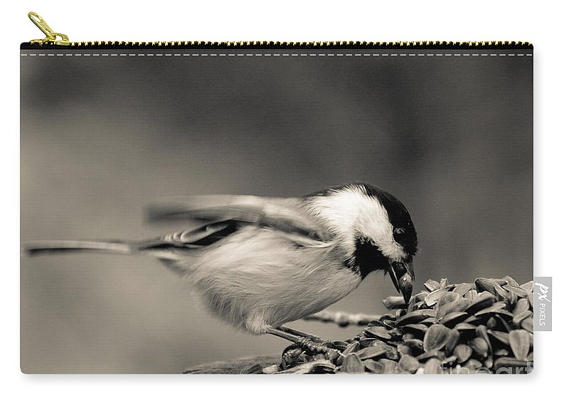 Chickadee Carry-all Pouch featuring the photograph Pigging Out by Cheryl Baxter