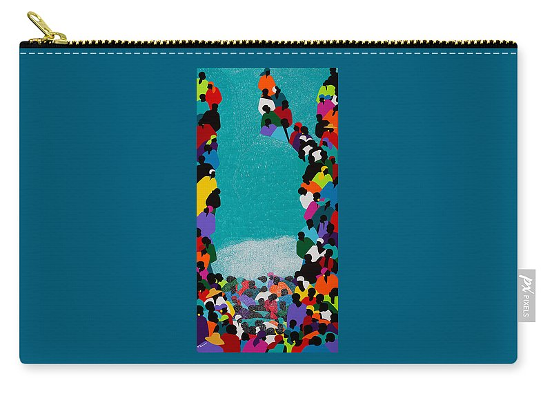 Waterfall Carry-all Pouch featuring the painting Pilgrimage Saut D'eau by Synthia SAINT JAMES
