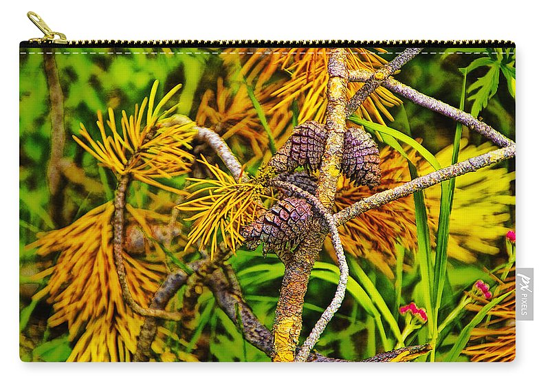 Art Carry-all Pouch featuring the photograph Pine Cones And Needles On A Branch by Randall Nyhof