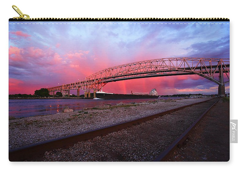 Port Carry-all Pouch featuring the photograph Pink And Blue by Gordon Dean II