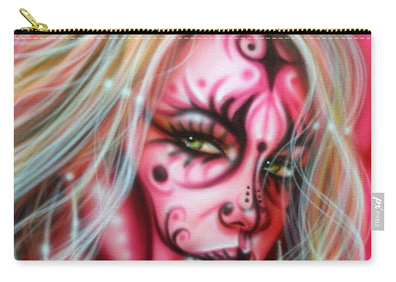 Fantasy Carry-all Pouch featuring the painting Pink Beauty by Timothy Scoggins