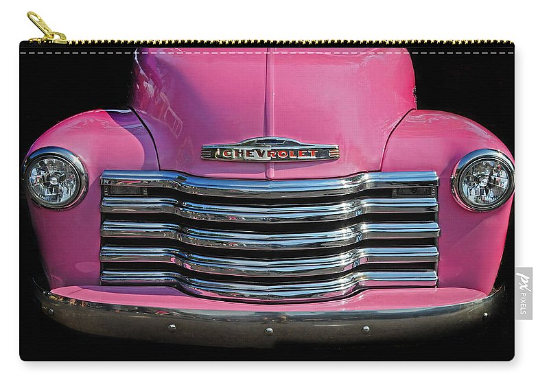 Chevrolet Carry-all Pouch featuring the photograph Pink Chevrolet Truck by Dave Mills