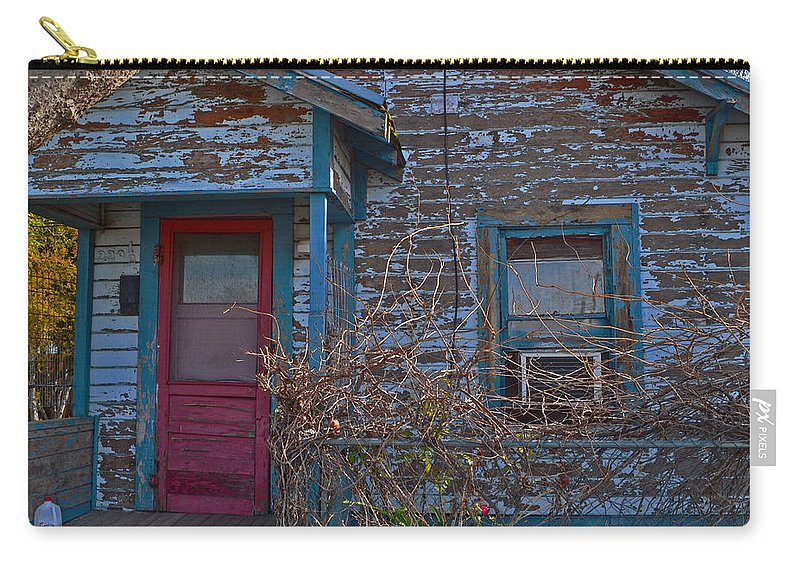 Old Building Carry-all Pouch featuring the photograph Pink Door by Bill Owen