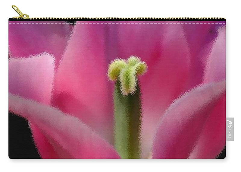 Digital Designs Carry-all Pouch featuring the photograph Pink Flower by Mark Gilman