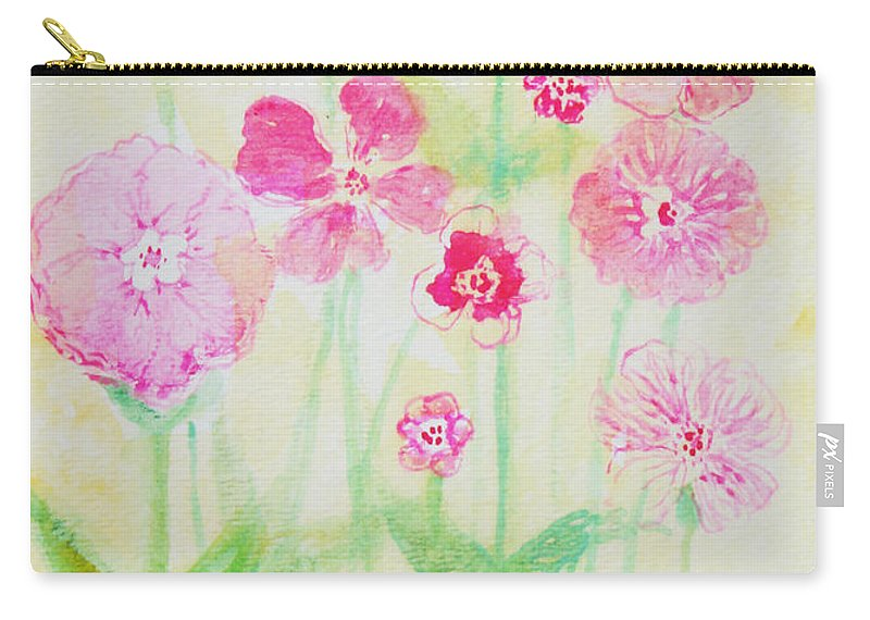 Flowers Carry-all Pouch featuring the painting Pink Flowers by Ashleigh Dyan Bayer