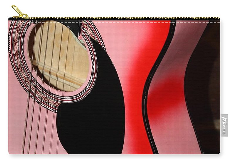 Guitar Carry-all Pouch featuring the photograph Pink Guitar by Carol Groenen