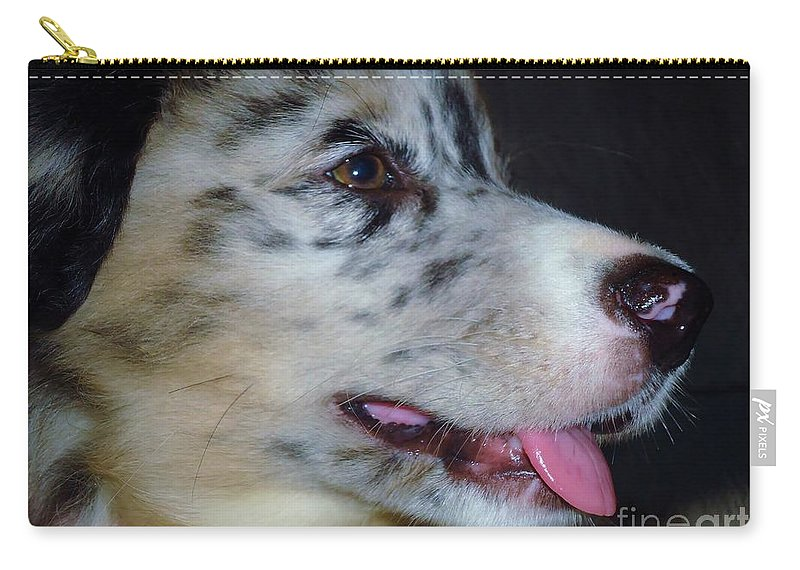 Puppy Carry-all Pouch featuring the photograph Pink by Art Dingo