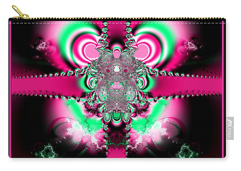 Ribbon Carry-all Pouch featuring the digital art Pink Ribbons And Bow Fractal 75 by Rose Santuci-Sofranko