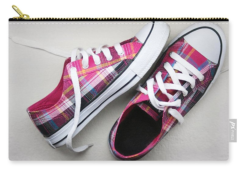 Shoes Carry-all Pouch featuring the photograph Pink Sneakers by Masha Batkova