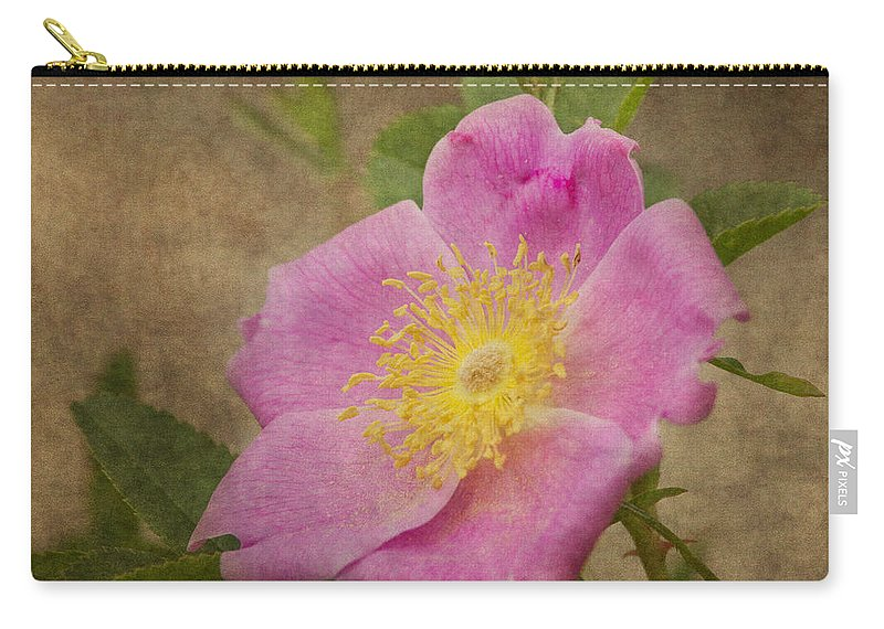 Wild Pink Rose Carry-all Pouch featuring the photograph Pink Wild Rose by Dale Kincaid