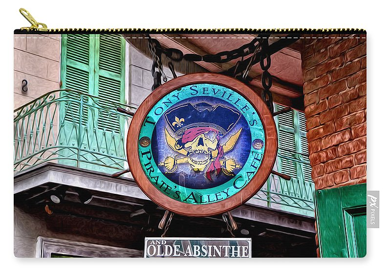 Pirates Alley Cafe Carry-all Pouch featuring the photograph Pirates Alley Cafe by Bill Cannon