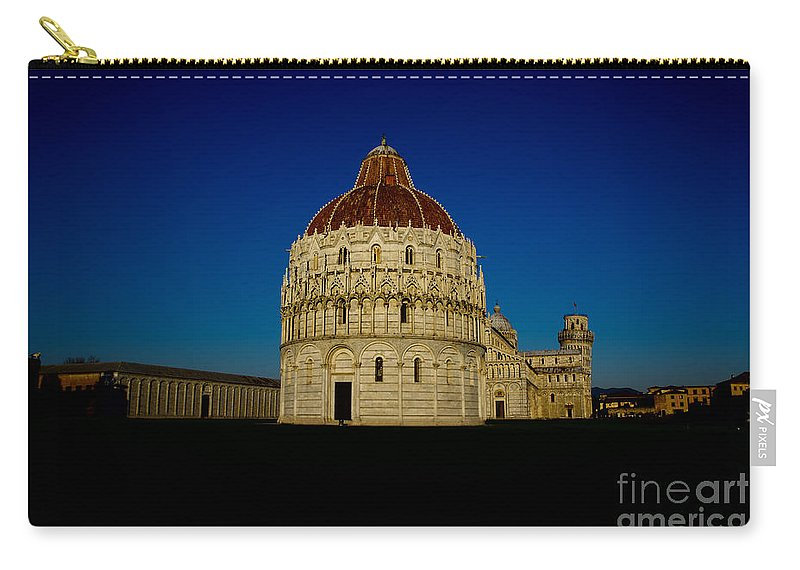 Pisa Carry-all Pouch featuring the photograph Pisa Tower And Baptistery Cathedral by Mats Silvan