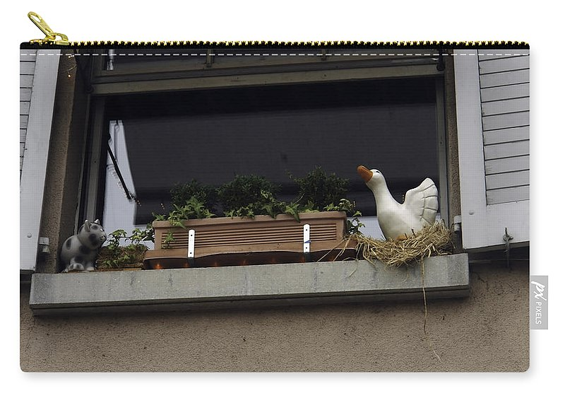 Animal Carry-all Pouch featuring the photograph Plants And Animal Figures In The Balcony Of A Building In Lucern by Ashish Agarwal