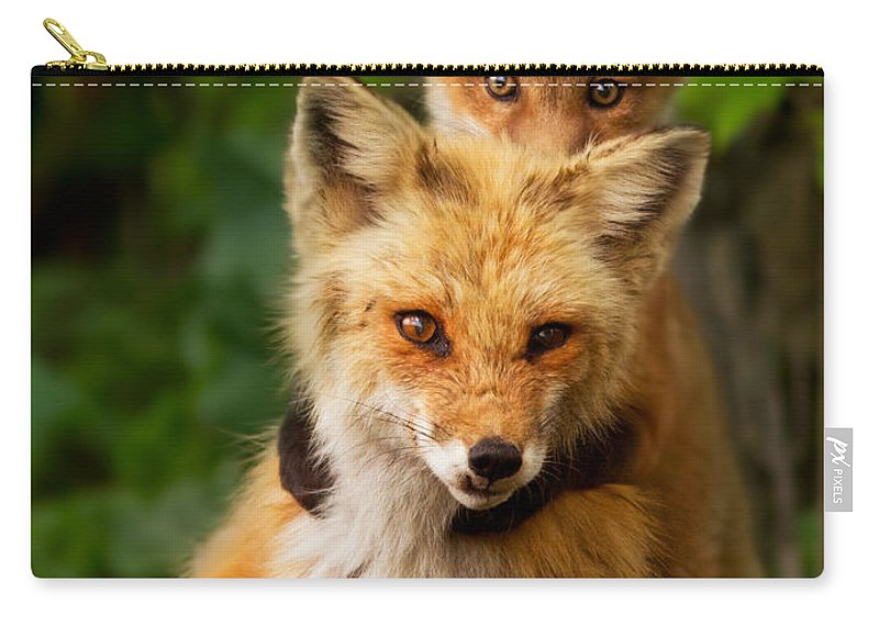 Fox Carry-all Pouch featuring the photograph Playtime by Mircea Costina Photography